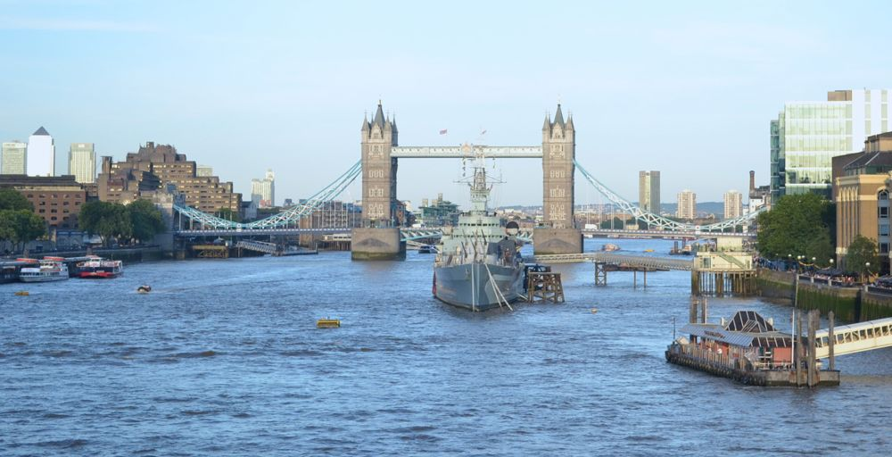 Tower Bridge drawbridge london thames HMS Belfast