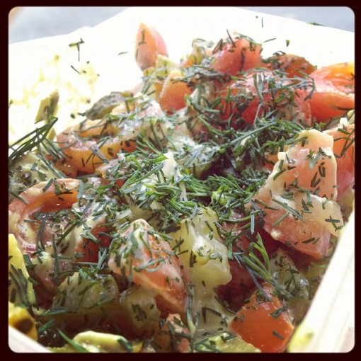 dill, tomato and pickle salad
