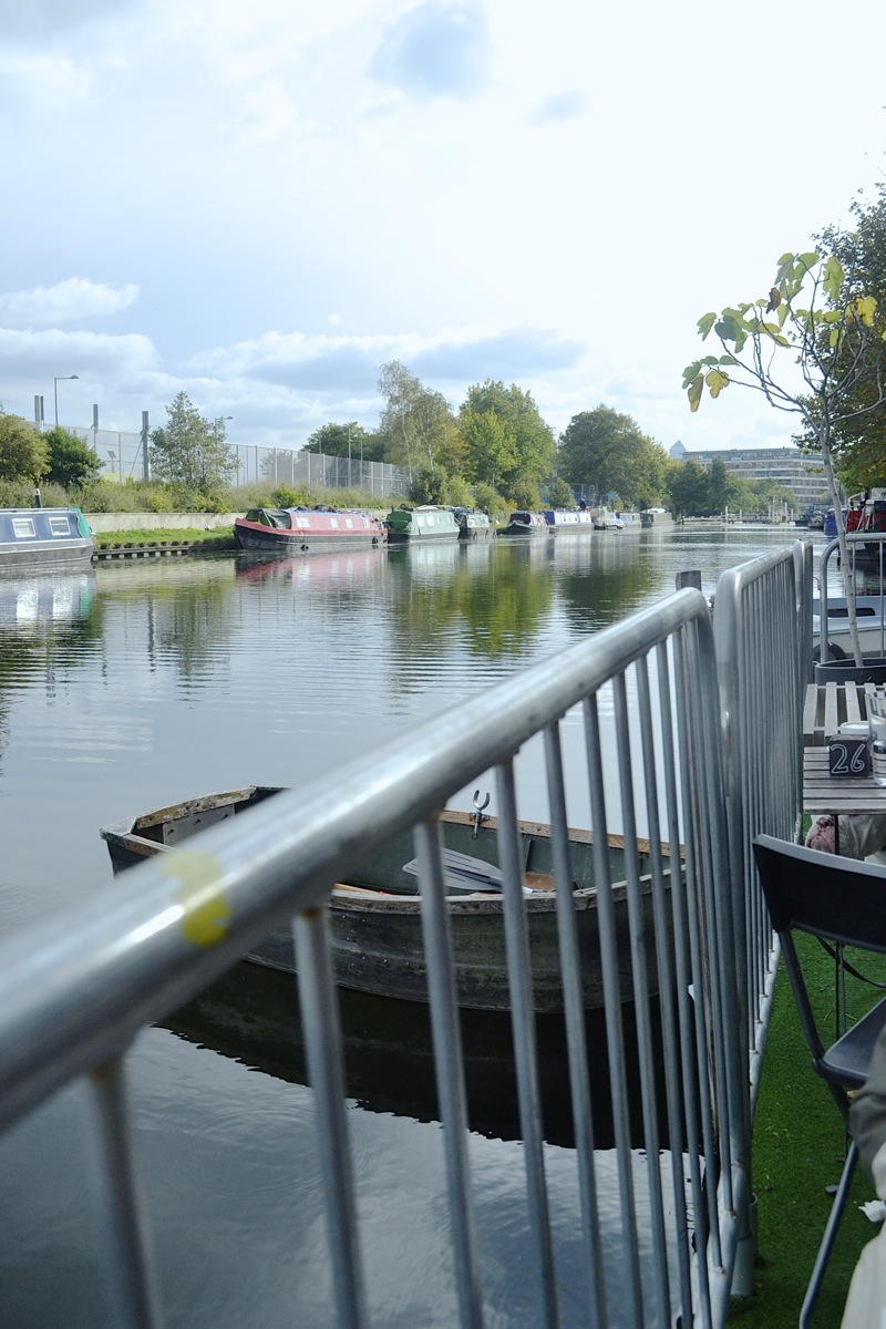 the counter view regeant's canal olympic park hackney boats water nature london café