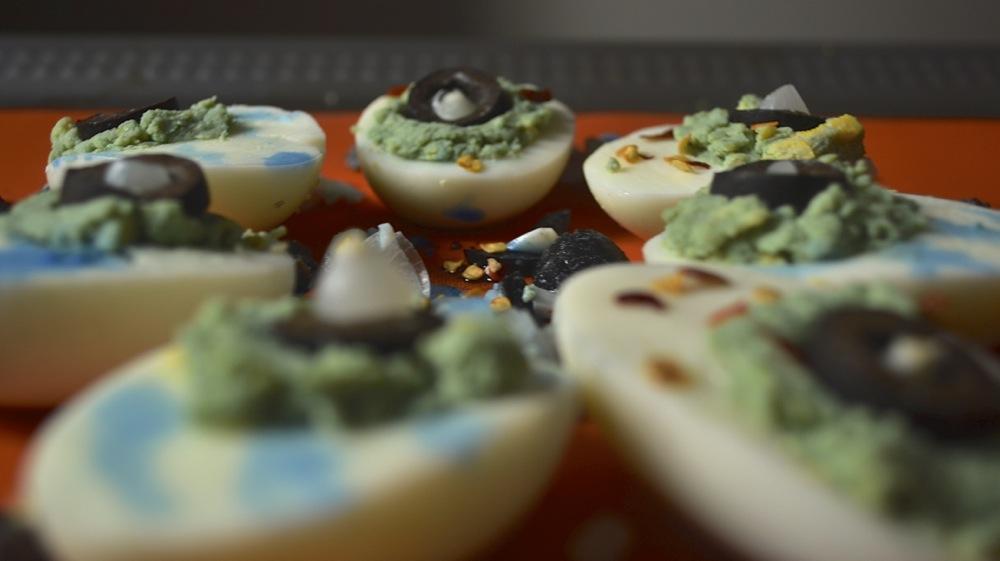 devilled eyeballs halloween eggs olives spooky snack