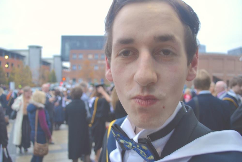 Patrick Hanlon gastrogays graduation DCU journalism bow tie suit