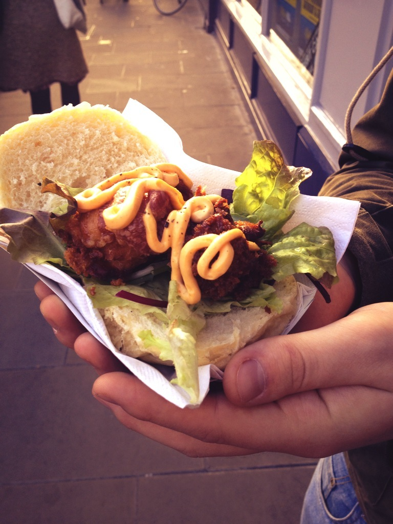 seafood broadway market burger fin flounder street food