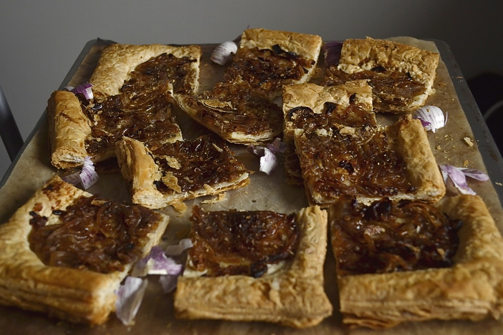 canapés caramelised onion tart pastry dinner party food nibbles starter
