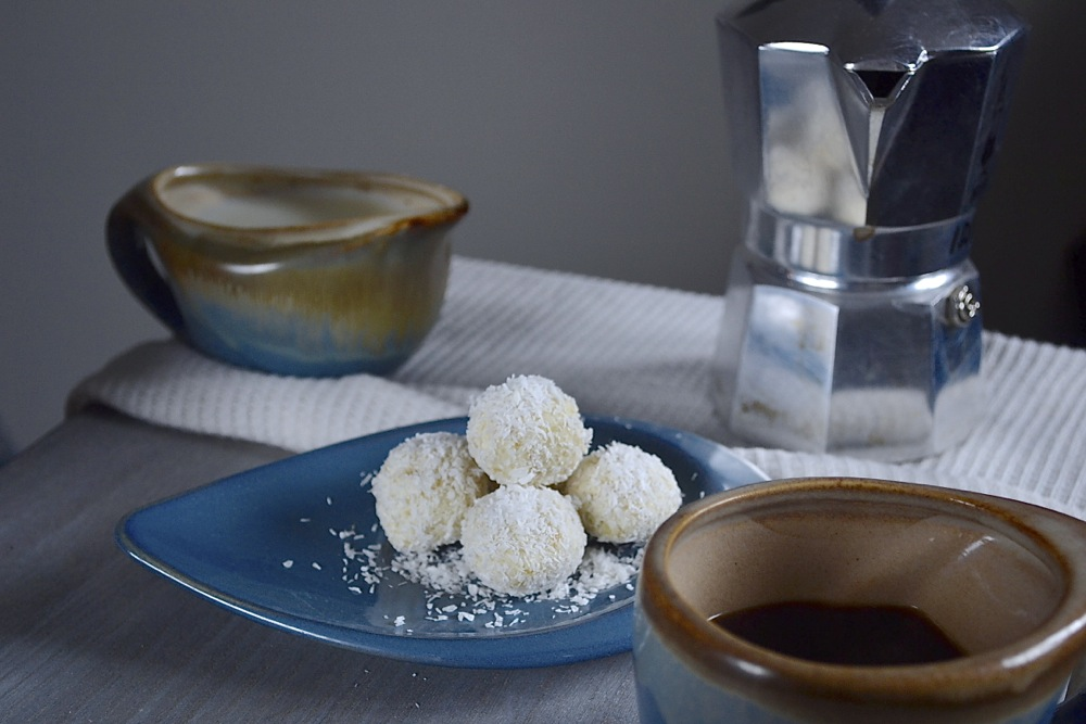 snowflake chocolate coconut truffles tea coffee party