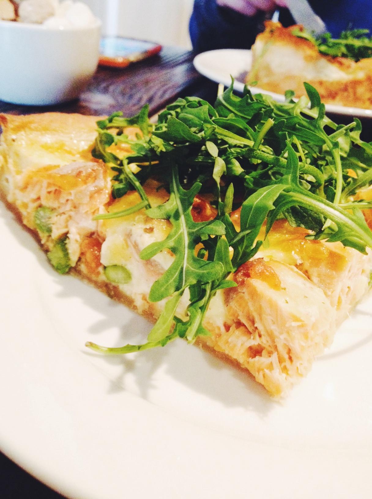salmon asparagus rocket quiche lunch sawmill restaurant cafe stratford london e15