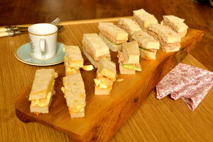 sandwiches, bread, baking, afternoon tea, finger sandwiches, egg mayo, tuna,