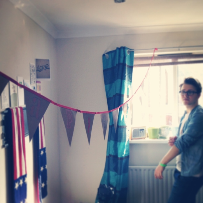 russell james alford, birthday party, bunting, flat