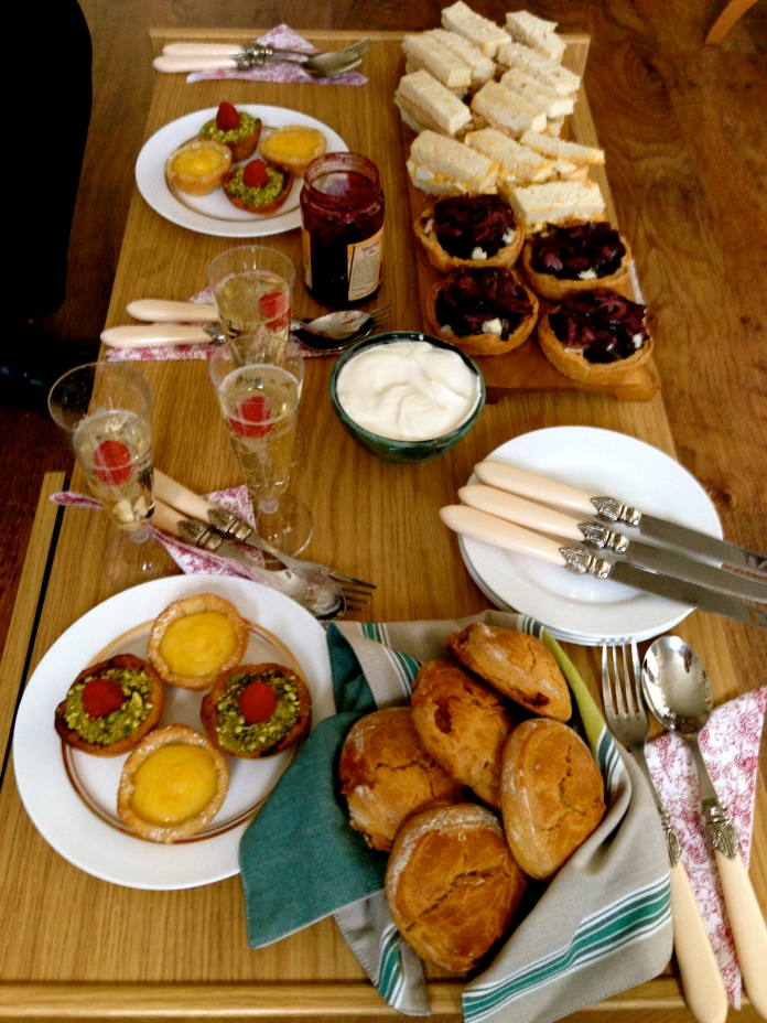 afternoon tea, homemade, scones, prosecco, finger sandwiches, gastrogays, caramelised onion tartlets