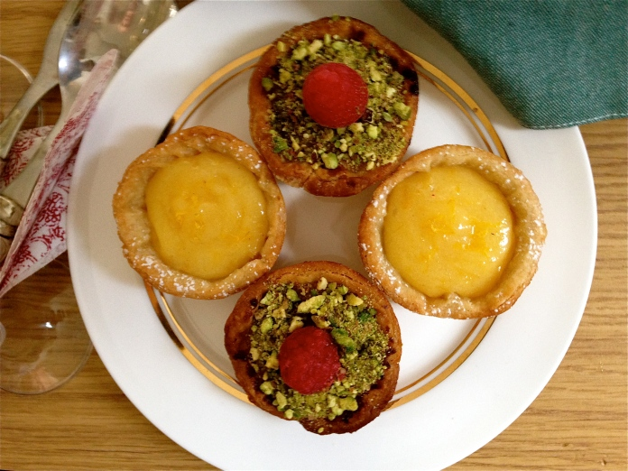 lemon curd, raspberry frangipane, pistachio, baking, homemade, tartlets,