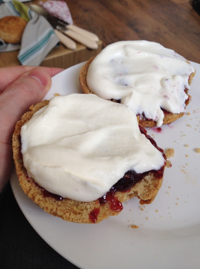 scones, baking, cherry scones, homemade, cream, whipped cream, jam, loganberry jam