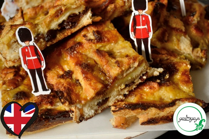 bread and butter slices, earl grey custard, bread pudding, UK characters, british recipe