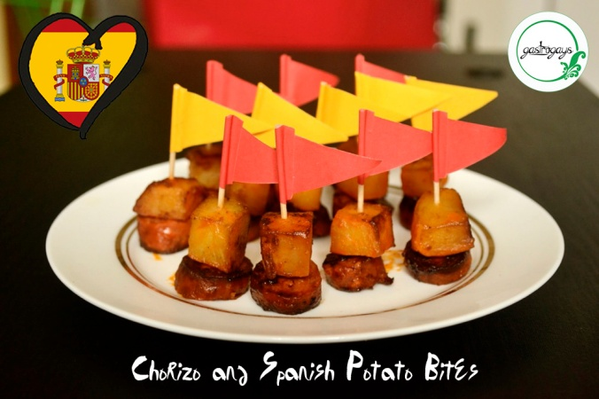 spanish tapas, potato and chorizo, spanish tapas bites, easy tapas recipe, eurovision tapas,