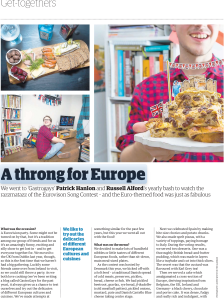 guardian, guardian cook, gastrogays, feature, print media, eurovision, party, eurovision party, europe, a song for europe, bread and butter pudding