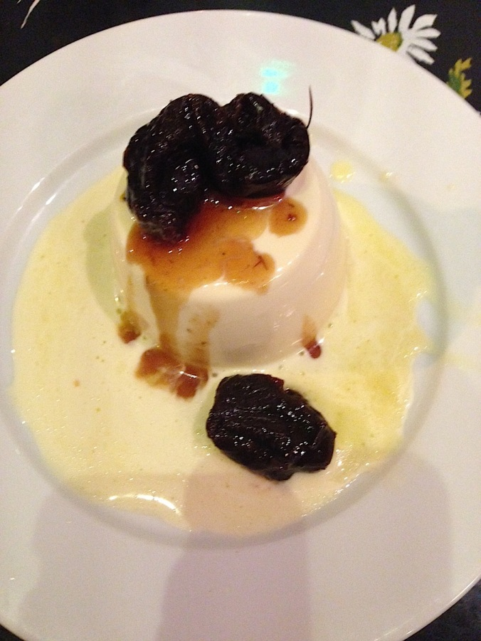 panna cotta, hackney pearl dessert, prunes and cream,